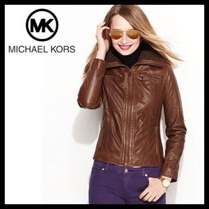 Michael Kors Zip Front Real Leather Jacket